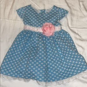 Blue and white polka dot size 18 months dress NWOT